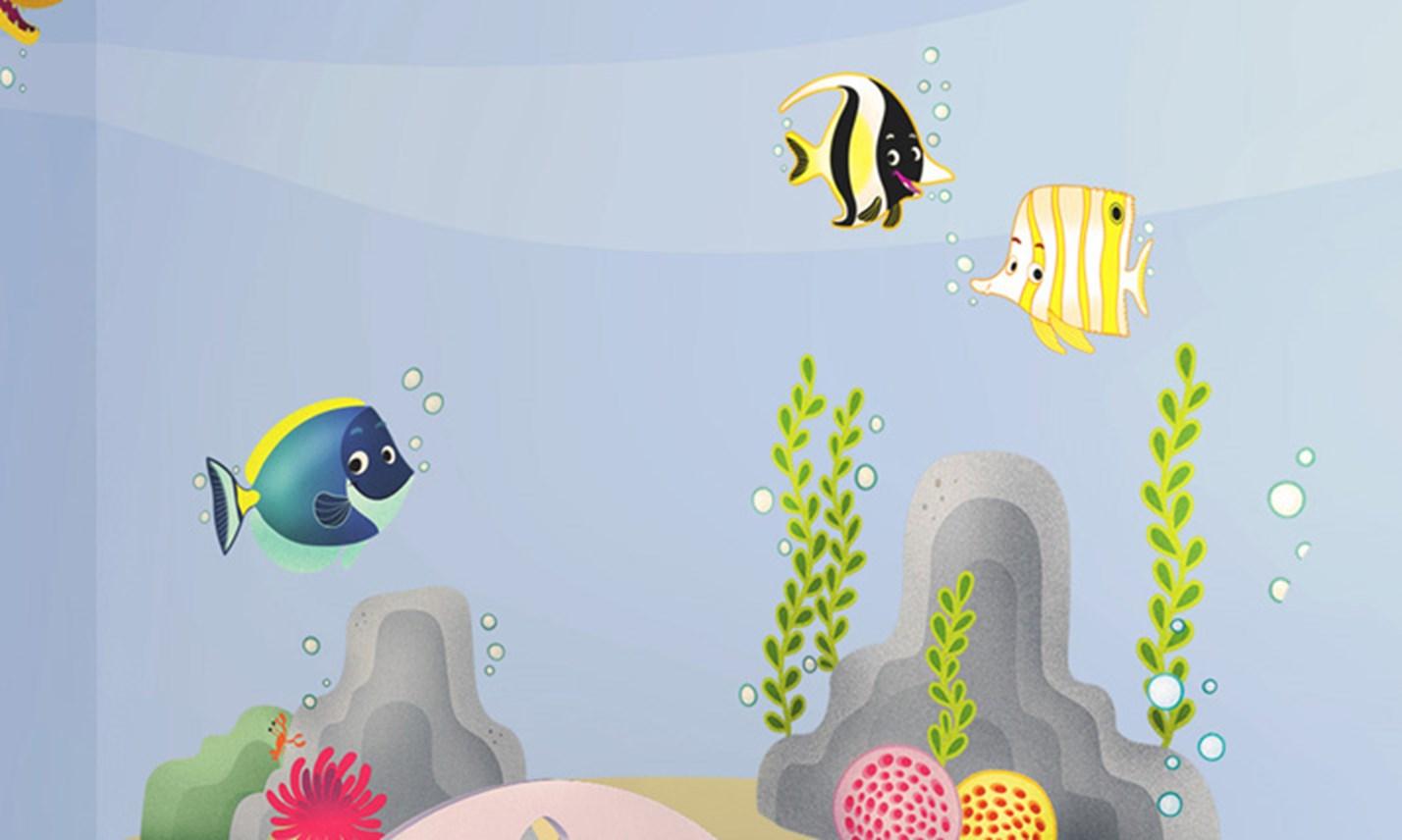 Stickers murali bambini cameretta barriera corallina - Decorazioni murali camerette ...